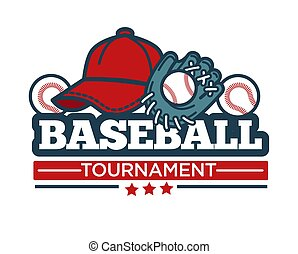Baseball tournament vector icon template of player bat, ball...