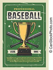 Baseball tournament vintage poster with trophy cup