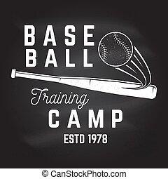 Baseball training camp on the chalkboard. Vector illustration.