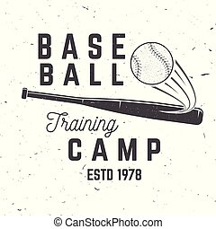 Baseball training camp. Vector illustration. Concept for shirt or logo, print, stamp or tee