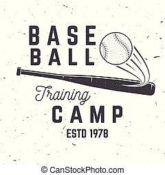 Baseball training camp. Vector illustration. Concept for shirt or logo, print, stamp or tee