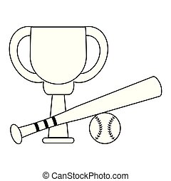 Baseball trophy cup championship in black and white