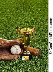 baseball trophy with bat ball