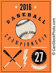 Baseball typographic vintage poster