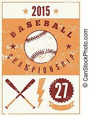 Baseball typographical vintage grun