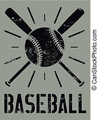 Baseball typographical vintage style grunge poster. Baseball label, badge, icon. Retro vector illustration.