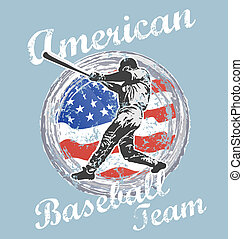 baseball us flag - illustration for shirt printed and poster