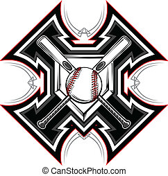 baseball, vect, grafisk, slagträ, softboll