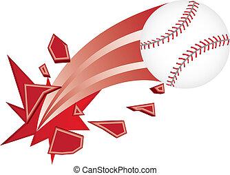 baseball vector - baseball ball broken isolated over white...