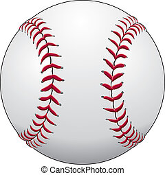 Baseball - Illustration of a baseball or softball in white...