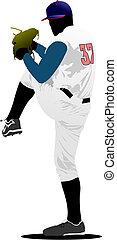 baseball, vettore, player., illustrazione