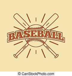 Baseball vintage style monochrome label, badge, icon. Vector illustration.