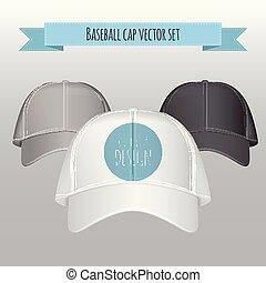 baseball, wektor, realistyczny, prospekt przodu, korona, set., illustration.