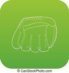 baseball, wektor, zielony, rękawiczka, ikona