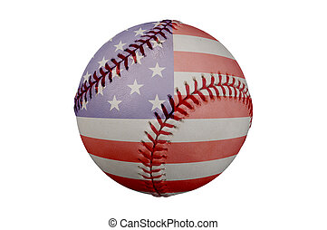 Baseball with American Flag