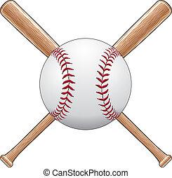 Baseball With Bats - Illustration of a baseball or softball...