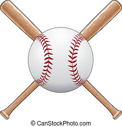 Illustration of a baseball or softball with two crossed wooden bats. Great for t-shirt designs.