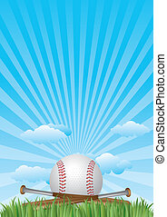 baseball on grass with blue sky