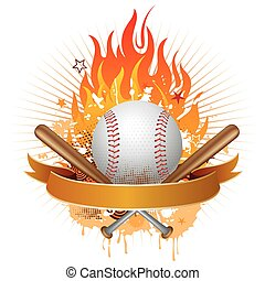 baseball with flames - baseball, flames, design element