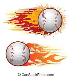 baseball with flames - baseball sport design elements