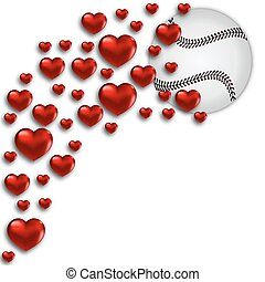 baseball with hearts