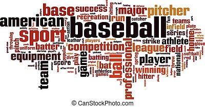 baseball, wort, wolke