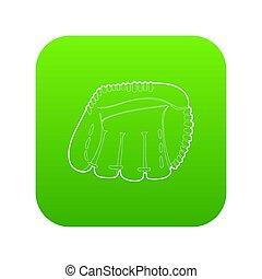baseball, zielony, rękawiczka, ikona