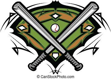 baseballfält, med, korsat, slagträ