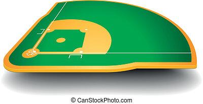 baseballfeld, mit, perspektive