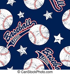 Baseballs and stars seamless pattern .