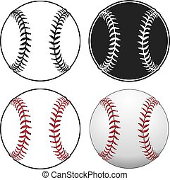 Baseballs is an illustration of a baseball in four styles...