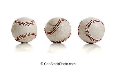 baseballs, weißes, drei, hintergrund