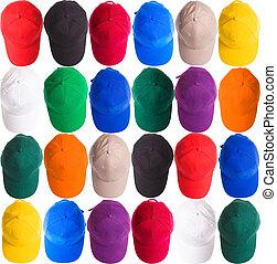 basebol, coloridos, bonés