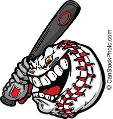 basebol, com, caricatura, rosto, balançando, morcego,...
