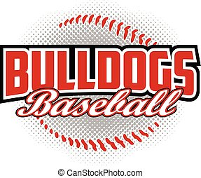 basebol, desenho, buldogues