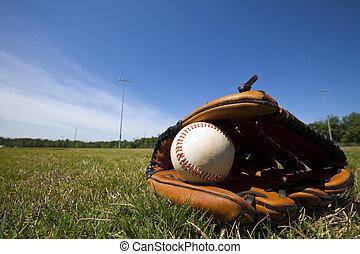 basebol, e, luva