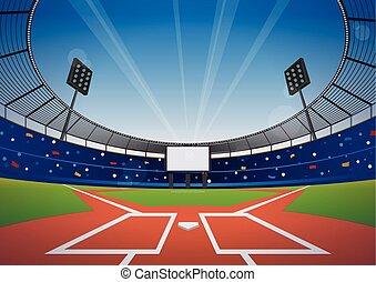 basebol, estádio, fundo