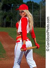 basebol, menina, excitado