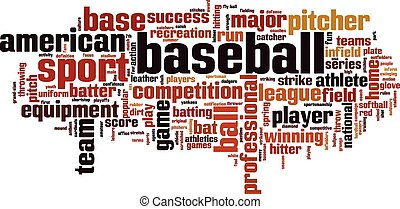 basebol, palavra, nuvem