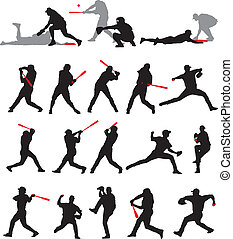 basebol, poses, silueta, 21, detalhe