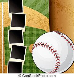 basebol, scrapbook, modelo