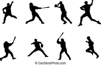 basebol, silhuetas, jogadores