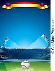 basebol, stadium., vetorial, cartaz, desenho