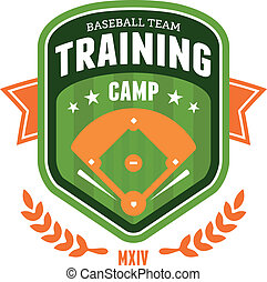 basebol, treinamento, acampamento, emblema