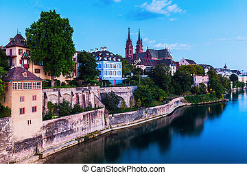 Basel architecture along Rhine River. Basel, Basel-Stadt,...