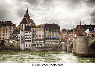 Basel panorama - panorama of Basel, Switzerland