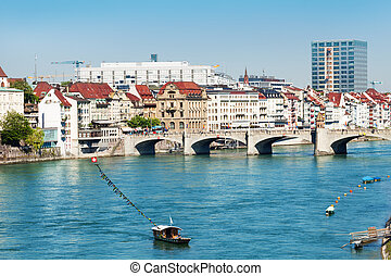 Basel waterfront with cable ferry across the Rhine