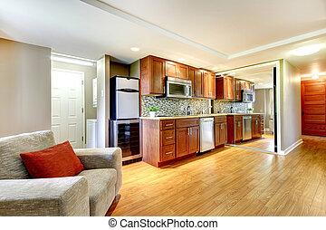 Basemenet luxury kitchen in the modern apartment.