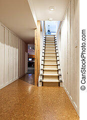 Basement and stairs in house - Stairway to finished basement...