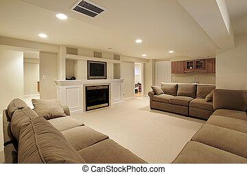 basement, ind, luksus til hjem